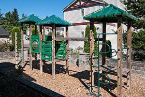 Green playground, slide, climbing equipment