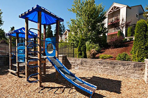 Blue playground, slide, climbing equipment