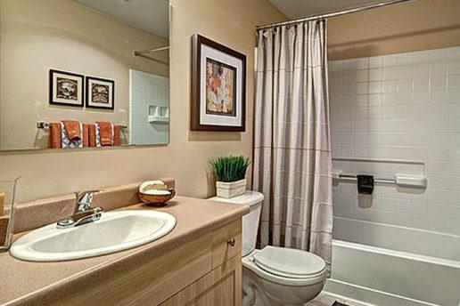 Neutral beige bathroom, bathtub and shower, large mirror