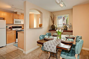 Tiled floor Kitchen, brown cabinetry, window looking into carpeted dining area
