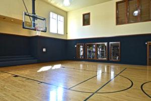 Gymnasium with basketball court
