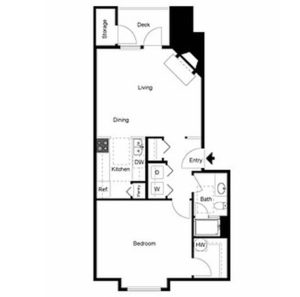 1 bed 1 bath floor plan, kitchen and pantry, living, dining, deck and storage, walk in closet, 1 additional closet