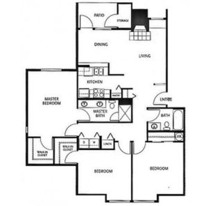 3 bed 2 bath floor plan, kitchen, dining, living, patio and balcony, 2 walk in closets, washer and dryer, linen closet