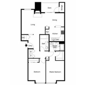 2 bed 2 bath floor plan, kitchen, dining, living, deck and storage, washer and dryer, 1 walk in closet, 1 closet