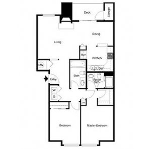 2 bed 2 bath floor plan, living, dining, kitchen, deck and storage, washer and dryer, walk in closet, closet