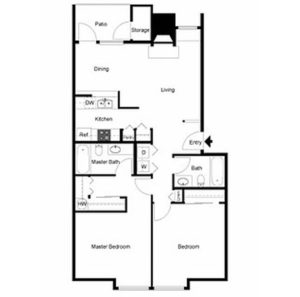2 bed 2 bath floor plan, kitchen, dining, living, patio and storage, washer and dryer, 1 walk-in closet, 3 closets