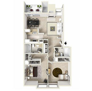 2 bed 2 bath floor plan, kitchen, dining, living, 2 closets