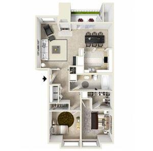 3 bed 2 bath floorplan, kitchen, dining, living, walk in closet, closet