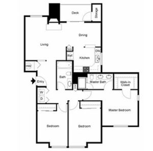 3 bed 2 bath floor plan, walk in closet, closet, washer and dryer, living, dining, kitchen, deck and storage