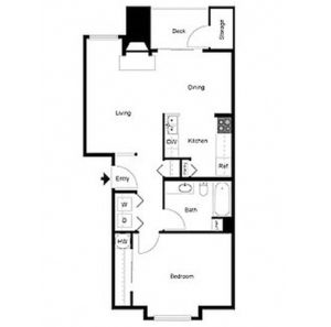 1 bed 1 bath floor plan, kitchen, living, dining, deck and storage, washer and dryer, 2 closets