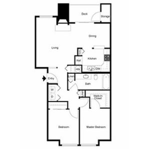 2 bed 1 bath floor plan, kitchen, dining, living, deck and storage, washer and dryer, 2 linen closets, 1 walk-in closet, 1 closet